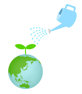 地球に水やりのイラスト素材 [FYI04739571]