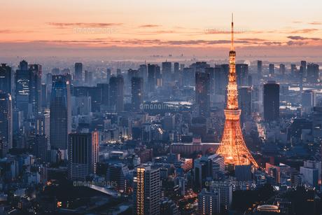 夜明けの東京タワーと東京都心の街並みの写真素材 [FYI04739587]
