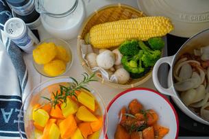 鮭と野菜のクリームシチューの食材の写真素材 [FYI04739739]