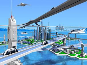 新海洋未来都市1青空のイラスト素材 [FYI04740159]