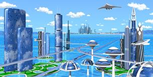 海洋未来都市wideのイラスト素材 [FYI04740366]