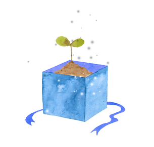 ギフトボックスに入った植物の芽のイラスト素材 [FYI04740477]