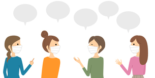マスクを着用して会話をする女性達のイラスト素材 [FYI04740569]