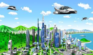 新未来の町とビークルのイラスト素材 [FYI04740583]