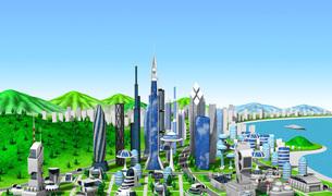 新未来の町青空のイラスト素材 [FYI04740586]
