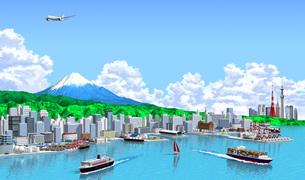 富士山と港町海側から東京入道雲のイラスト素材 [FYI04740590]