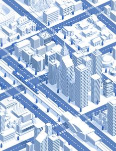 city isometric new darkblueのイラスト素材 [FYI04740598]