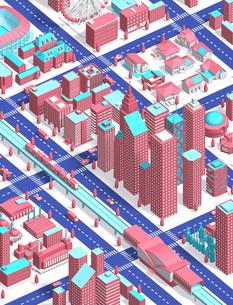 city isometric pinkのイラスト素材 [FYI04740600]