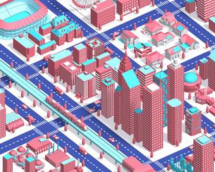city isometric newpink2のイラスト素材 [FYI04740605]