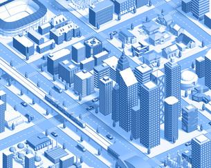 isometric city new2 blueのイラスト素材 [FYI04740607]