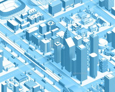 isometric city new2 lightblueのイラスト素材 [FYI04740608]