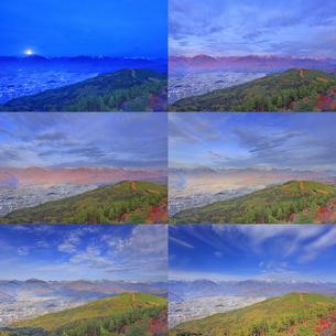 鷹狩山から望む北アルプスと大町市街の月の入りから昼の定点撮影の写真素材 [FYI04740664]
