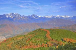 鷹狩山から望む鹿島槍ヶ岳と白馬連峰と紅葉の樹林の写真素材 [FYI04740671]
