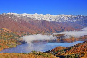 権現山から望む白馬連峰と紅葉の樹林と青木湖の写真素材 [FYI04740698]