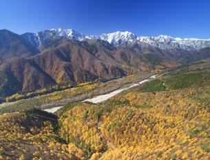 小熊山から望む仁科三山と紅葉のカラマツ林と鹿島川の渓谷の写真素材 [FYI04740712]