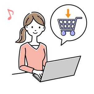 ネットショッピングをする女性のイラスト素材 [FYI04740764]