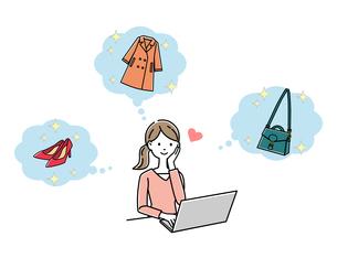 ネットショッピングをする女性のイラスト素材 [FYI04740765]