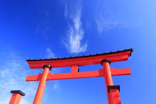 生島足島神社の大鳥居と炎状の雲の写真素材 [FYI04740931]