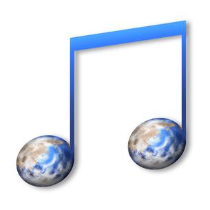 音符型の地球のイラスト素材 [FYI04741039]