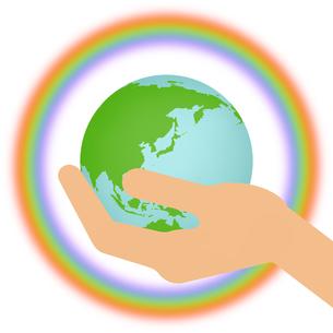 手の上の地球と虹の輪のイラスト素材 [FYI04741087]