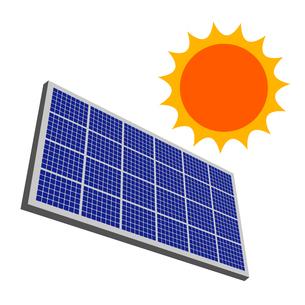 太陽とソーラーパネルのイラスト素材 [FYI04741091]
