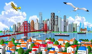 町と橋と摩天楼入道雲のイラスト素材 [FYI04741279]