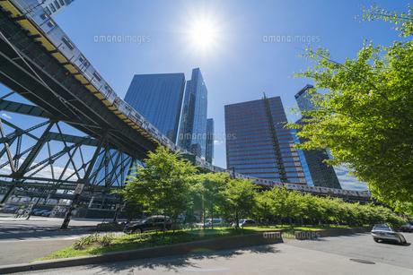 ニューヨーク市 ロングアイランドシティー クイーンズボロープラザの 新緑の並木道沿い高層ビル群の間を走るニューヨーク市地下鉄。の写真素材 [FYI04741412]