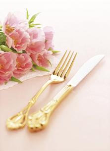 フォークとナイフと花束 の写真素材 [FYI04741921]