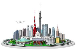 街並み、東京、山手線白バックのイラスト素材 [FYI04742097]