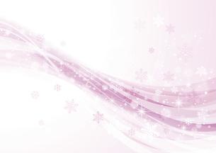 キラキラ光る雪とウェーブ 冬の背景 ピンクのイラスト素材 [FYI04742111]