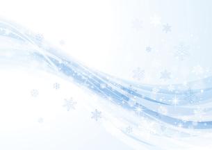 キラキラ光る雪とウェーブ 冬の背景 水色のイラスト素材 [FYI04742112]