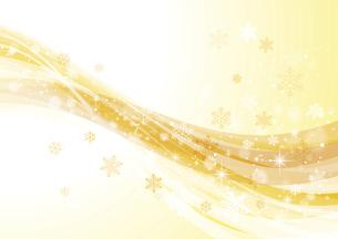 キラキラ光る雪とウェーブ 冬の背景 黄色のイラスト素材 [FYI04742113]