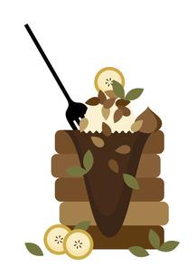 バナナ アイスクリーム チョコレート パンケーキ イラストのイラスト素材 [FYI04742125]