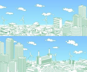 街並み 線画 住宅 ビル 工場 分割 緑 青空のイラスト素材 [FYI04742206]