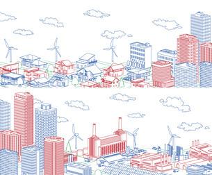 街並み 線画 住宅 ビル 工場 分割 3色のイラスト素材 [FYI04742207]