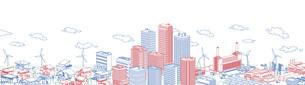街並み 線画 住宅 ビル 工場 連続 3色のイラスト素材 [FYI04742208]
