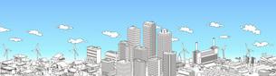 街並み 線画 住宅 ビル 工場 連続 青空のイラスト素材 [FYI04742209]