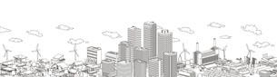 街並み 線画 住宅 ビル 工場 連続のイラスト素材 [FYI04742210]