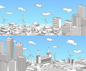 街並み 線画 住宅 ビル 工場 分割 青空のイラスト素材 [FYI04742211]