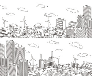 並み 線画 住宅 ビル 工場 分割のイラスト素材 [FYI04742212]