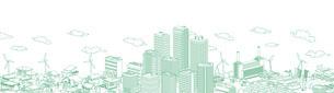 街並み 線画 住宅 ビル 工場 連続 緑のイラスト素材 [FYI04742213]