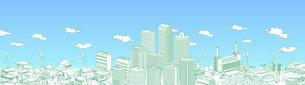 街並み 線画 住宅 ビル 工場 連続 緑 青空のイラスト素材 [FYI04742214]