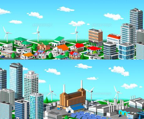 ル 街並み 住宅 ビル 工場 分割 青空のイラスト素材 [FYI04742230]