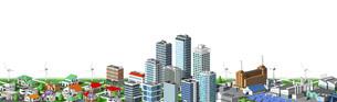 街並み 住宅 ビル 工場 連続 白バックのイラスト素材 [FYI04742231]