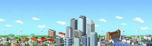街並み 住宅 ビル 工場 連続 青空のイラスト素材 [FYI04742232]