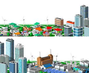 街並み 住宅 ビル 工場 分割 白バックのイラスト素材 [FYI04742233]