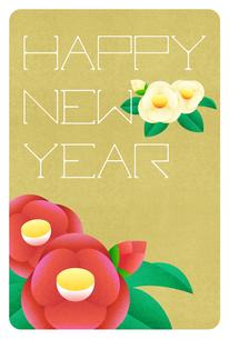 年賀状 Happy New Year 赤と白の椿のイラスト素材 [FYI04742564]