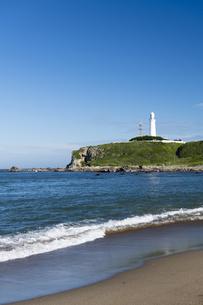 犬吠埼灯台と海岸線の写真素材 [FYI04742768]