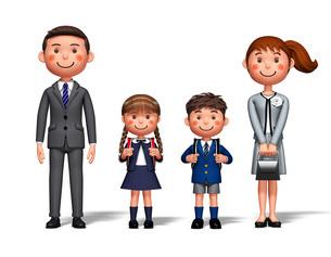 入学式 両親 男の子 女の子のイラスト素材 [FYI04742814]