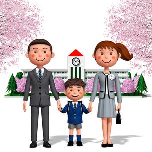 入学式 両親と男の子のイラスト素材 [FYI04742815]